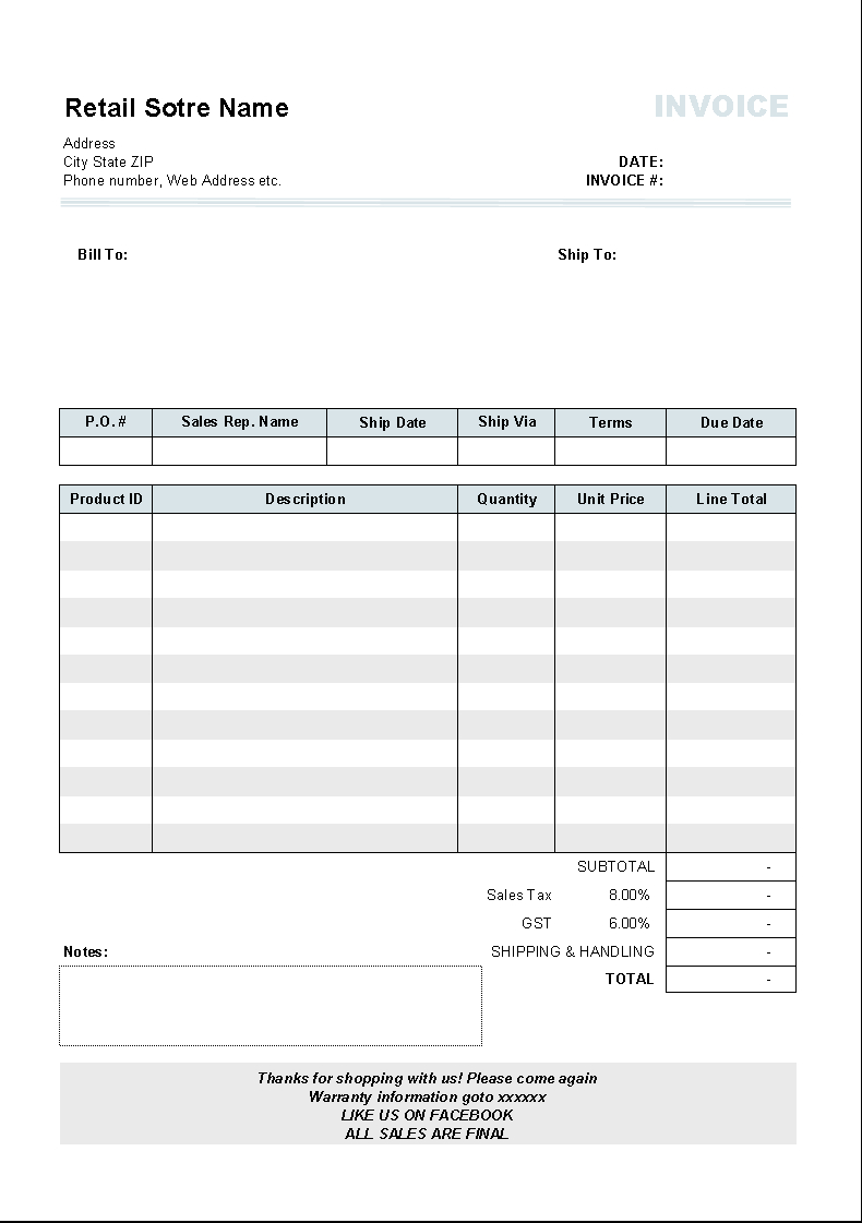 Free Editable Printable Invoices Blank Bill Of Sale Word Template - Free Bill Invoice Template Printable