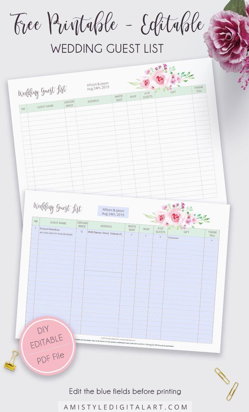 Free Editable-Printable Wedding Guest List | Amistyle Digital Art In - Free Printable Wedding Party List