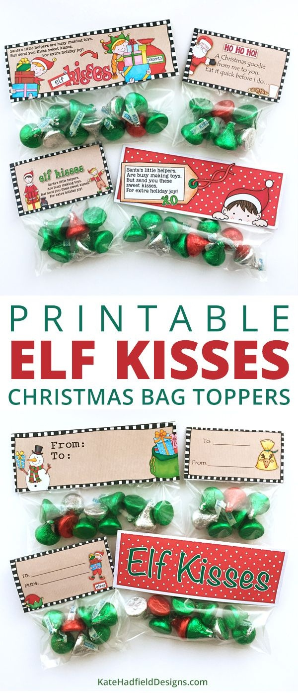 Free Elf Kisses Bag Toppers | Christmas Theme | Christmas Treat Bags - Free Printable Bag Toppers