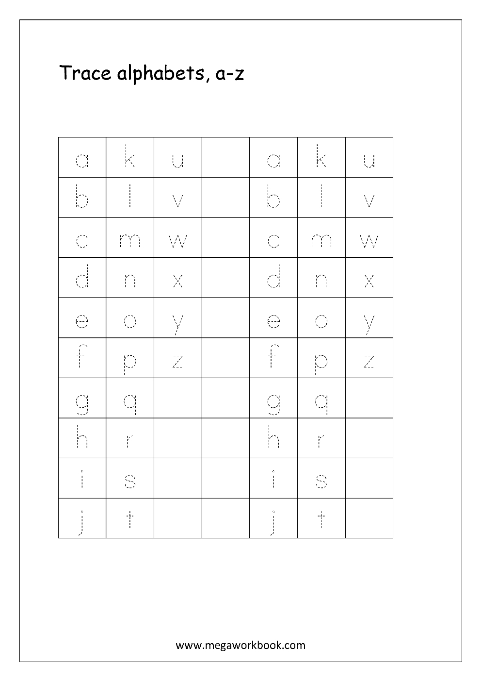 Free English Worksheets - Alphabet Tracing (Small Letters) - Letter - Free Printable Letters Az