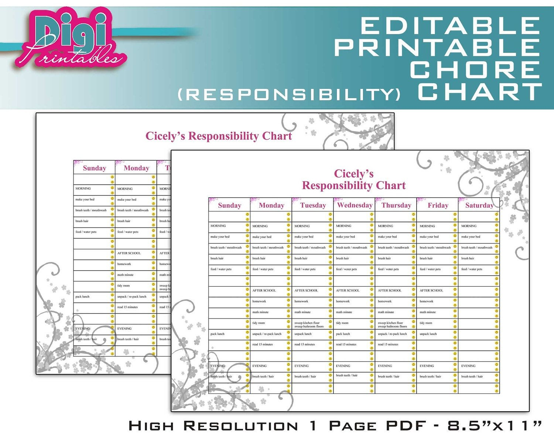 Free Family Chore Charts Printable   Editable / Printable Chore - Free Editable Printable Chore Charts