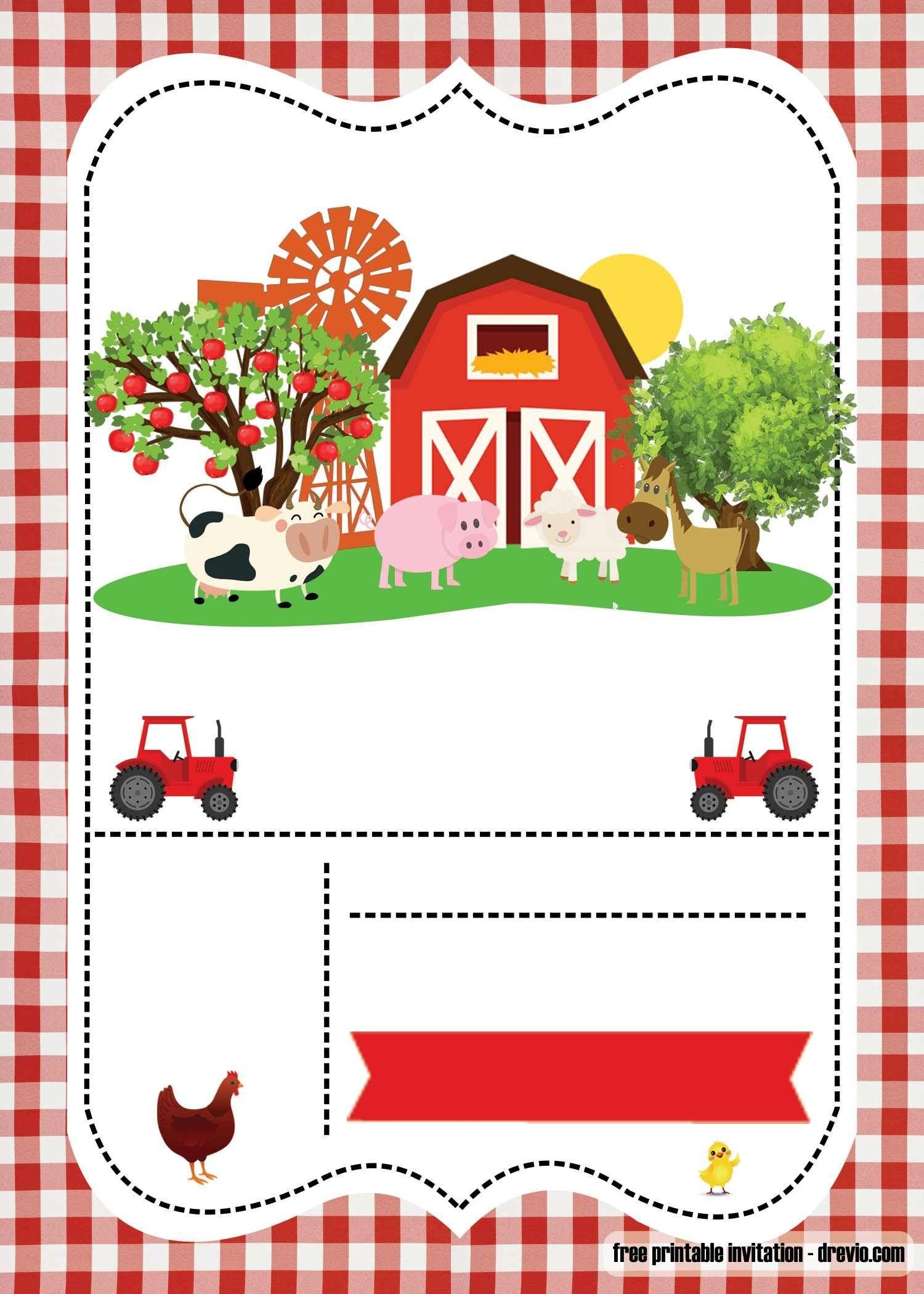 Free Farm Party Invitation Template - Printable | Birthday | Farm - Free Printable Farm Birthday Invitations