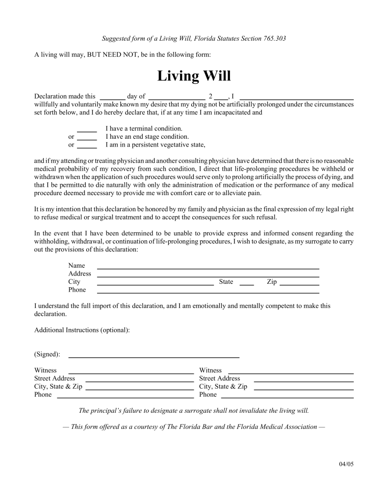 Free Florida Living Will Form - Pdf | Eforms – Free Fillable Forms - Free Printable Last Will And Testament Blank Forms