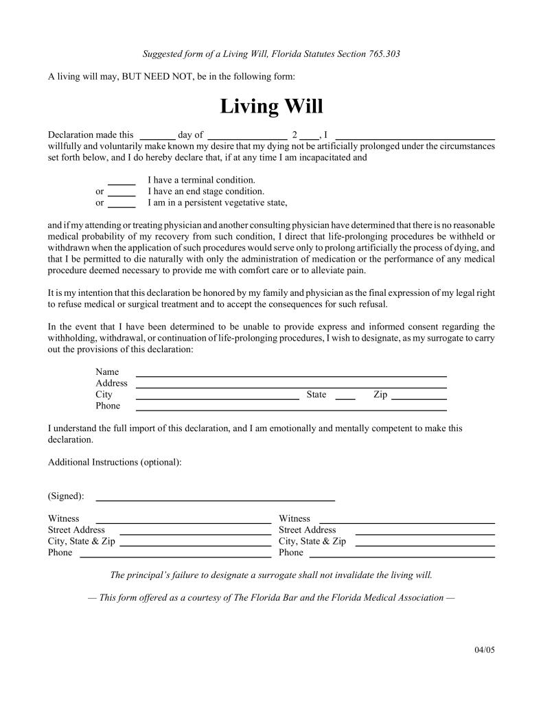 Free Florida Living Will Form - Pdf | Eforms – Free Fillable Forms - Free Printable Will Forms