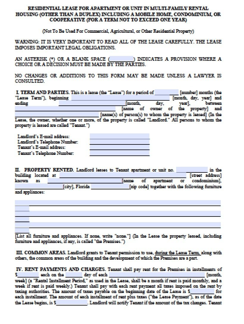Free Florida Month-To-Month Lease Agreement   Pdf   Word (.doc) - Free Printable Florida Residential Lease Agreement
