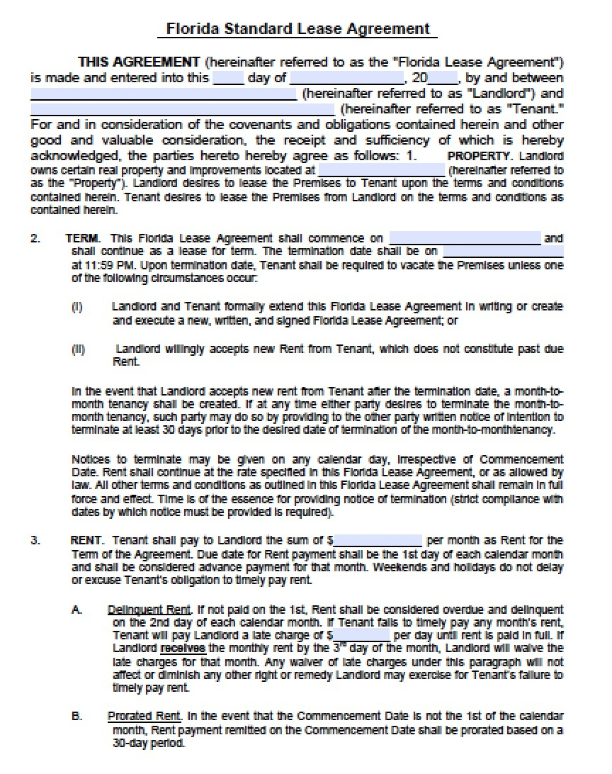 Free Florida Residential Lease Agreement   Pdf   Word (.doc) - Free Printable Florida Residential Lease Agreement