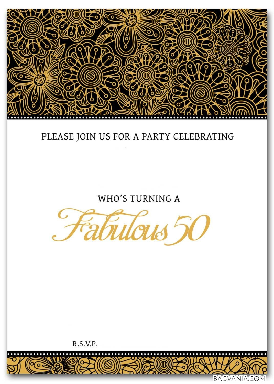 Free Free 50Th Birthday Party Invitations Wording | 50 Years Old - Printable Invitation Templates Free Download