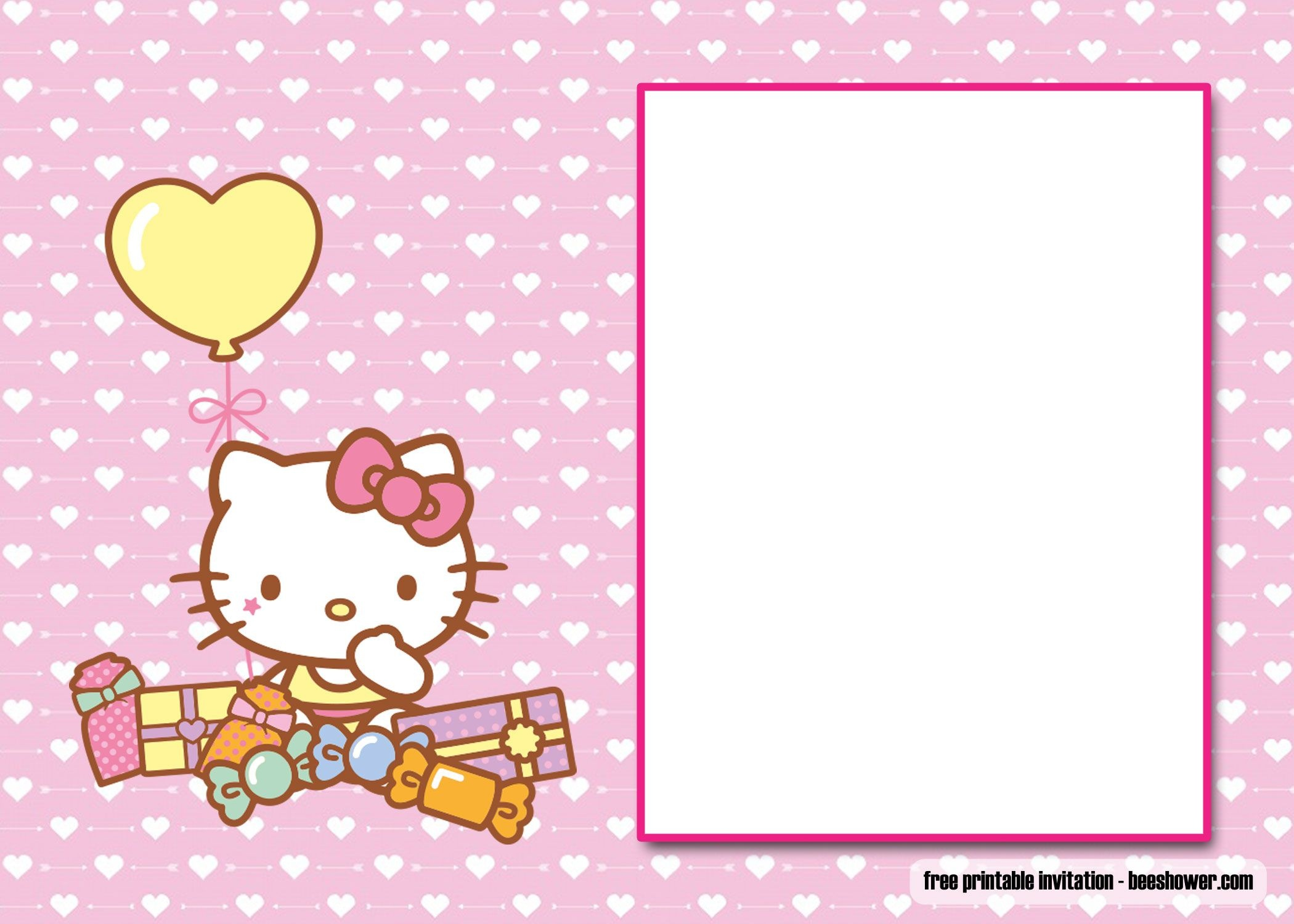 Free Free Perfect Hello Kitty Baby Shower Invitations | Beeshower - Free Printable Hello Kitty Baby Shower Invitations