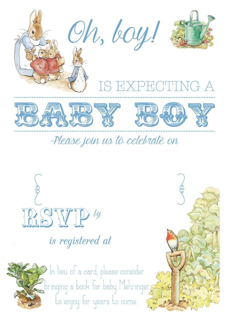 Free Free Printable Peter Rabbit Baby Shower Invitation | Free Baby - Free Baby Boy Shower Invitations Printable