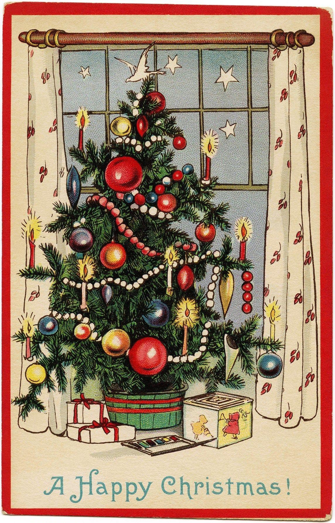 Free Freebie Printable Vintage Christmas Postcard, Christmas Tree - Free Printable German Christmas Cards
