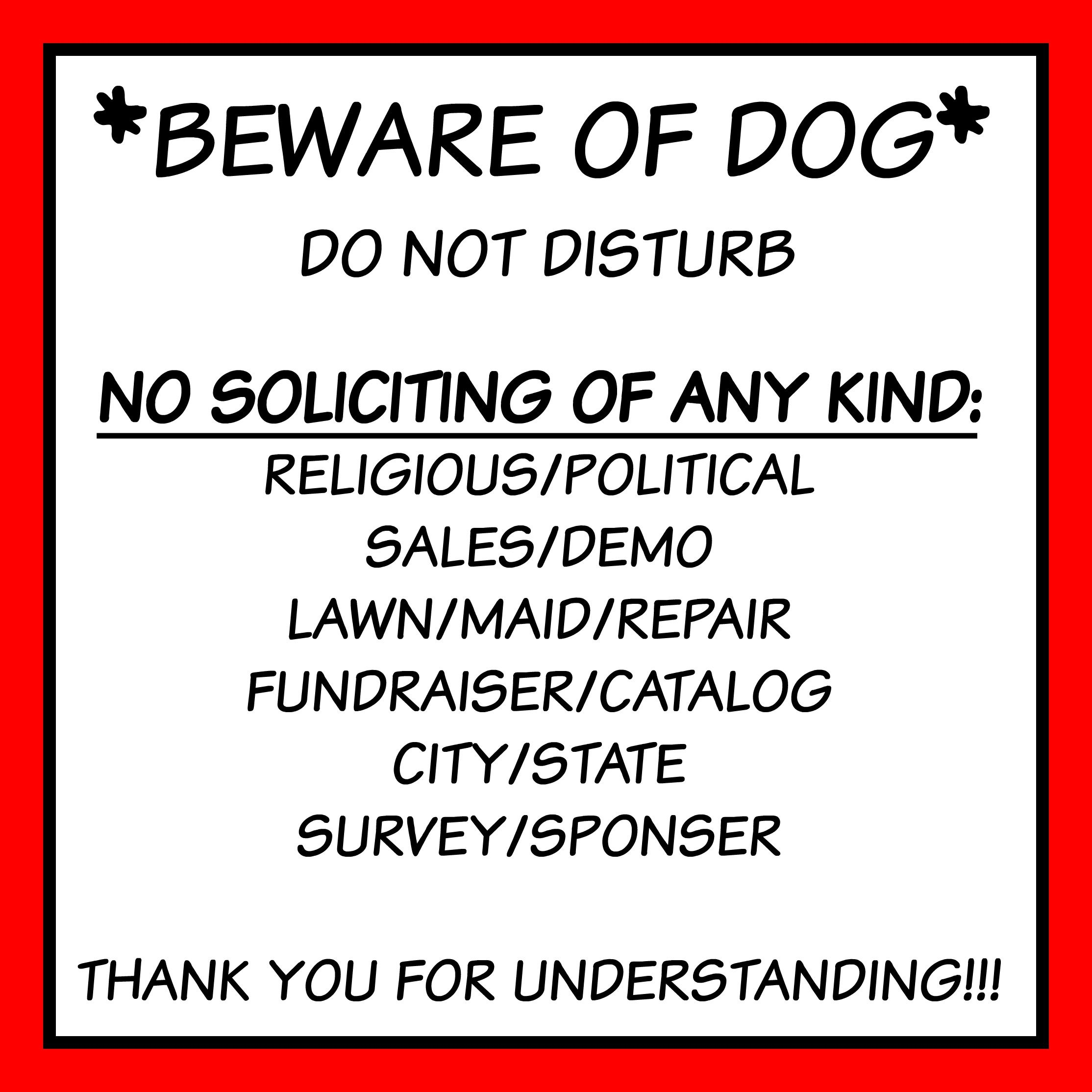 Free Front Door Sign Printable Beware Of Dog No Soliciting Etc - Free Printable No Soliciting Sign