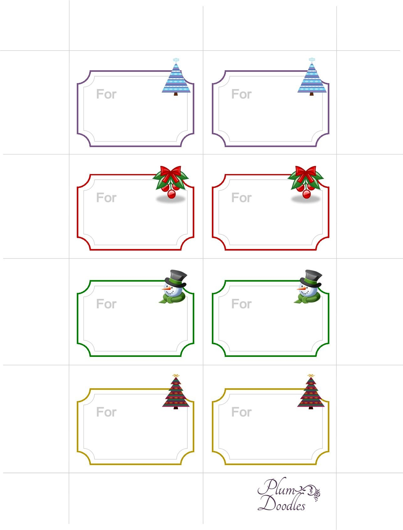 Free Gift Tags Printable - Plum Doodles - Free Printable To From Gift Tags