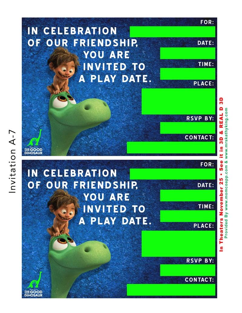 Free Good Dinosaur Birthday Party & Playdate Invitation Templates - Play Date Invitations Free Printable