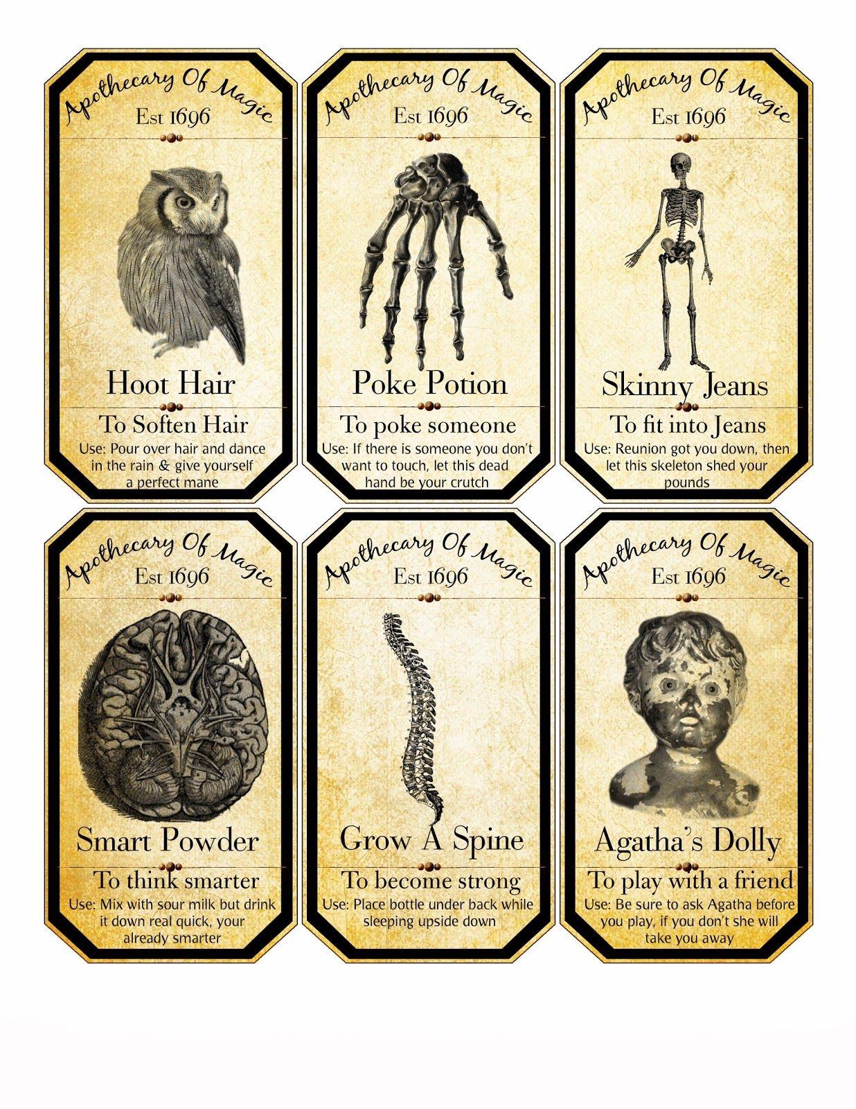 Free Halloween Digital Collage Sheet Apothecary Labels | Halloween - Free Printable Halloween Bottle Labels