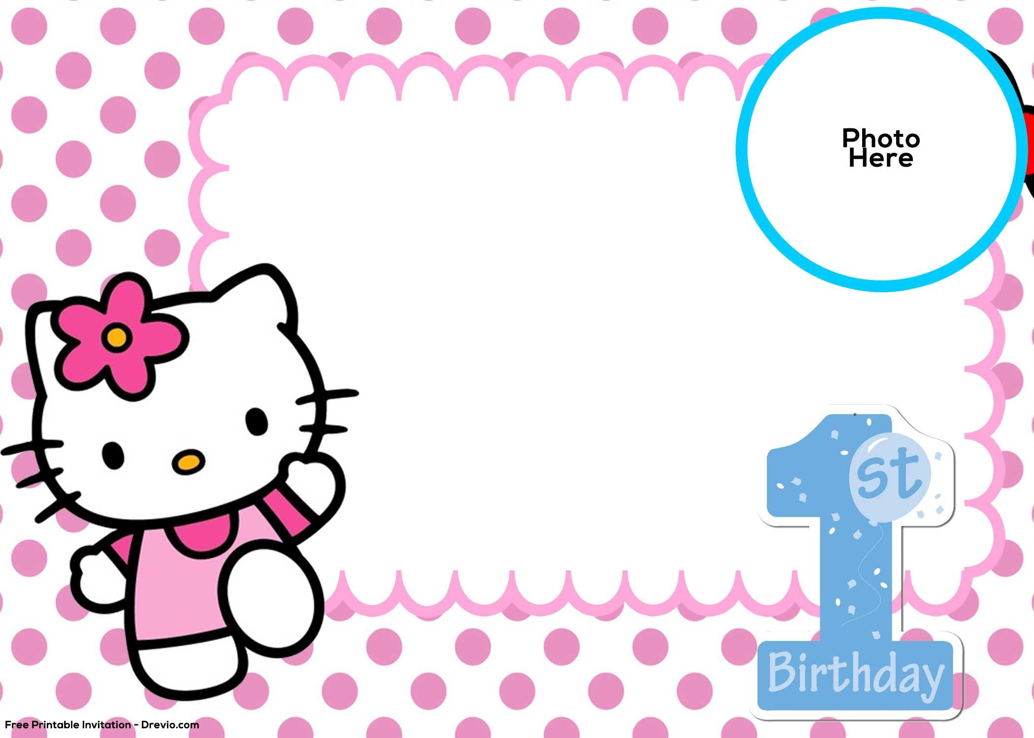 Free Hello Kitty 1St Birthday Invitation | Birthday Invitation - Free Printable Hello Kitty Baby Shower Invitations