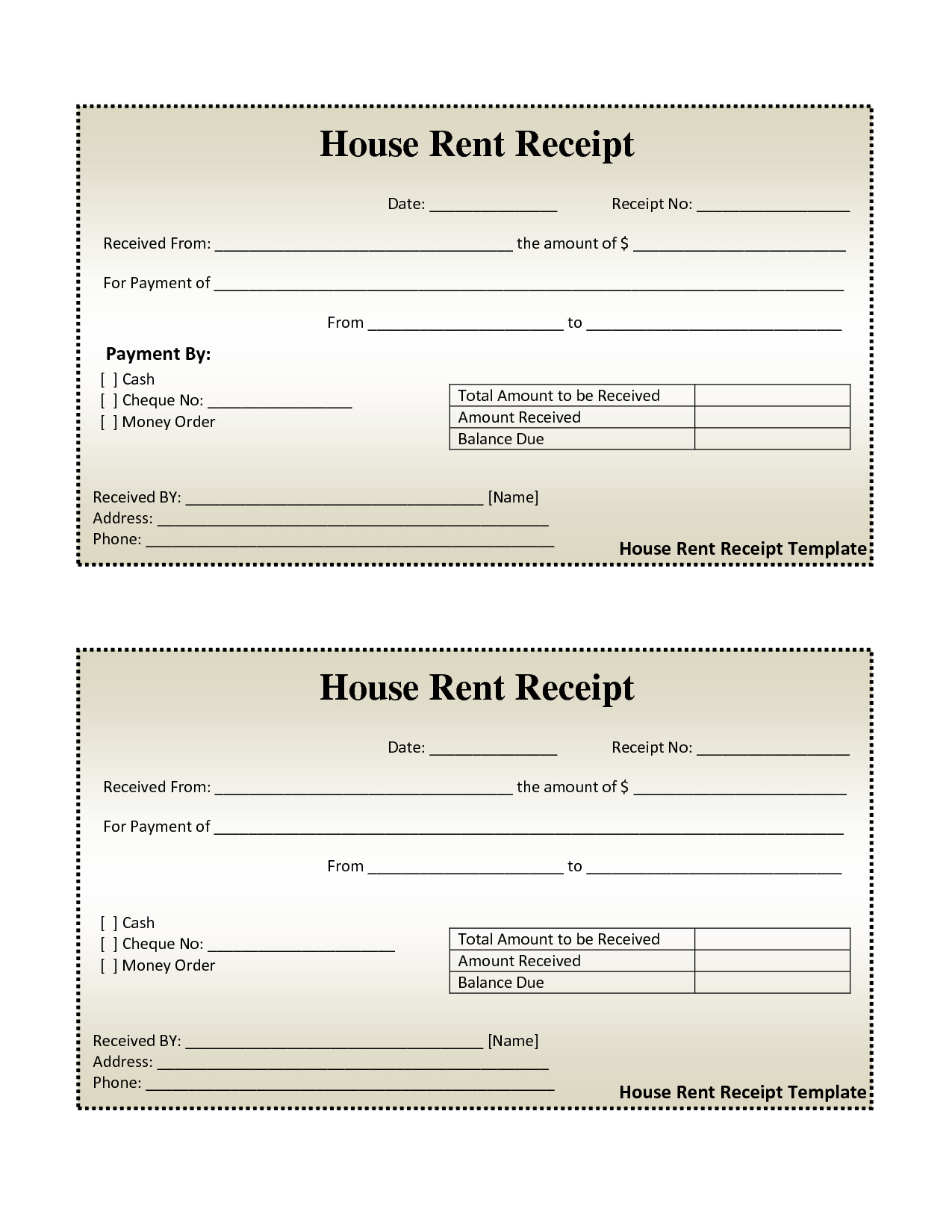 Free House Rental Invoice | House Rent Receipt Template - Doc - Free Printable Rent Receipt
