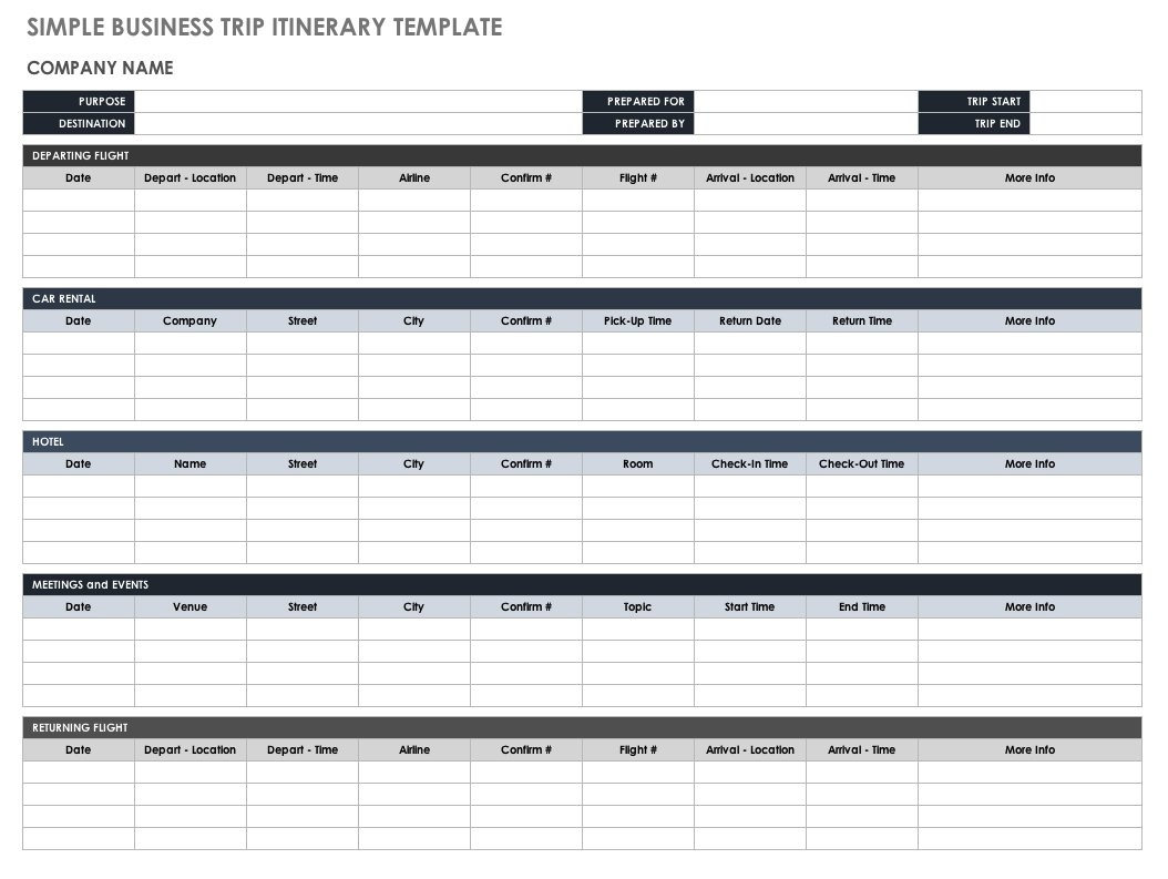 Free Itinerary Templates Smartsheet Schedule Template Planner | Smorad - Free Printable Itinerary