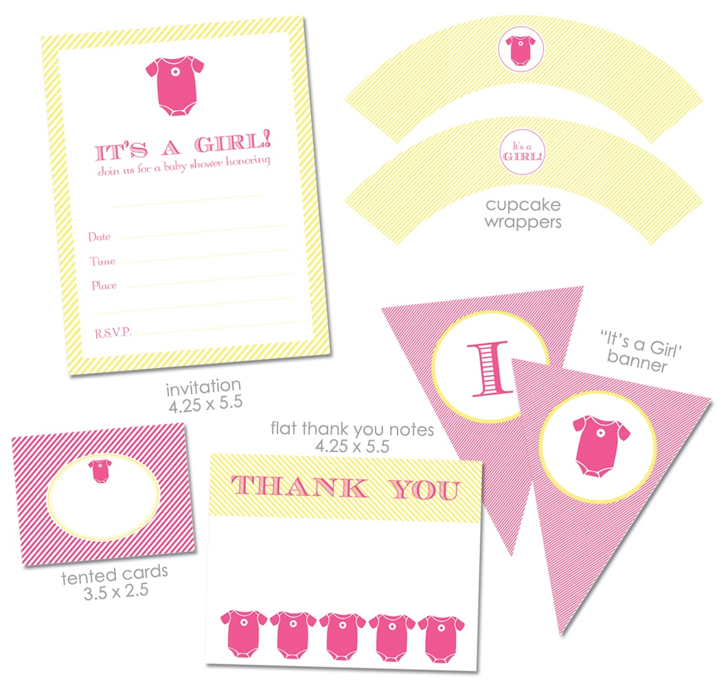 "Free ""it's A Girl"" Baby Shower Printables From Green Apple Paperie - Baby Girl Banner Free Printable"