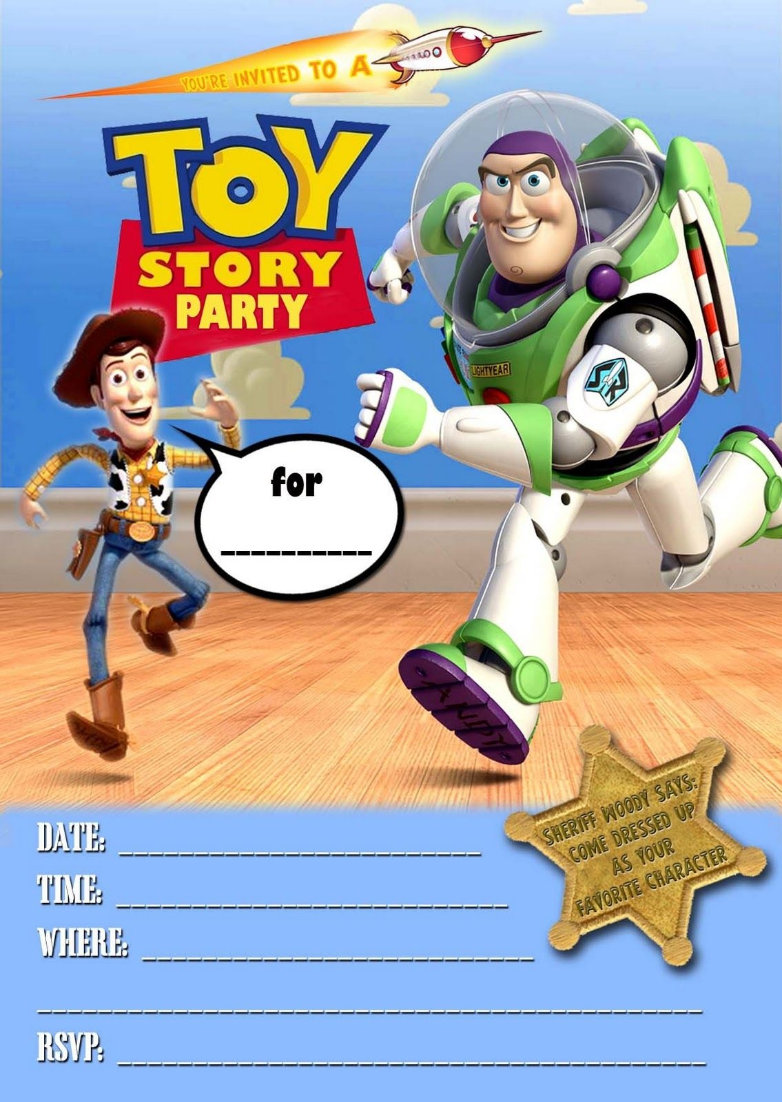 Free Kids Party Invitations: Toy Story Party Invitation *new - Toy Story Birthday Card Printable Free