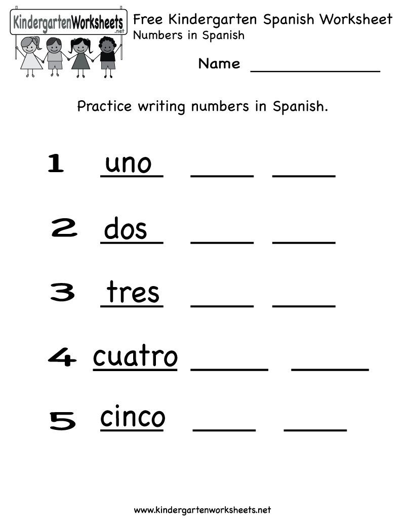 Free Kindergarten Spanish Worksheet Printables. Use The Spanish - Free Printable Spanish Numbers