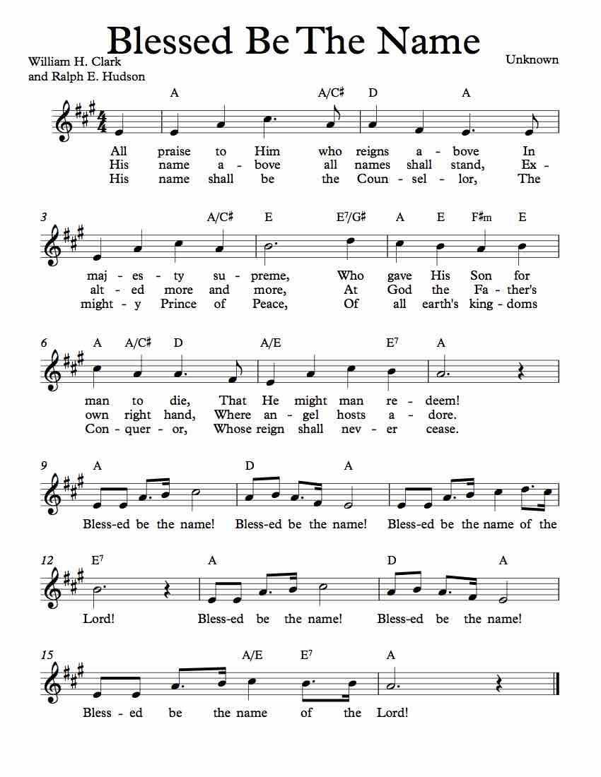 Free Lead Sheet – Blessed Be The Name | Free Sheet Music | Lead - Free Printable Sheet Music Lyrics