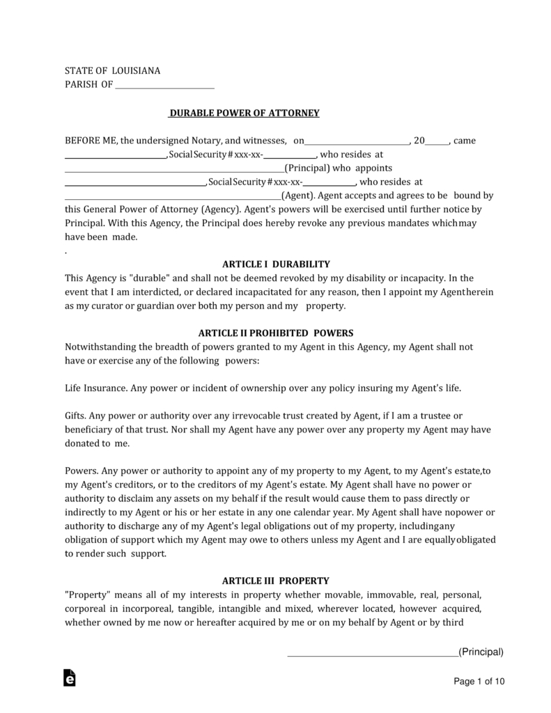Free Louisiana Power Of Attorney Forms - Pdf | Word | Eforms – Free - Free Printable Medical Forms Kit