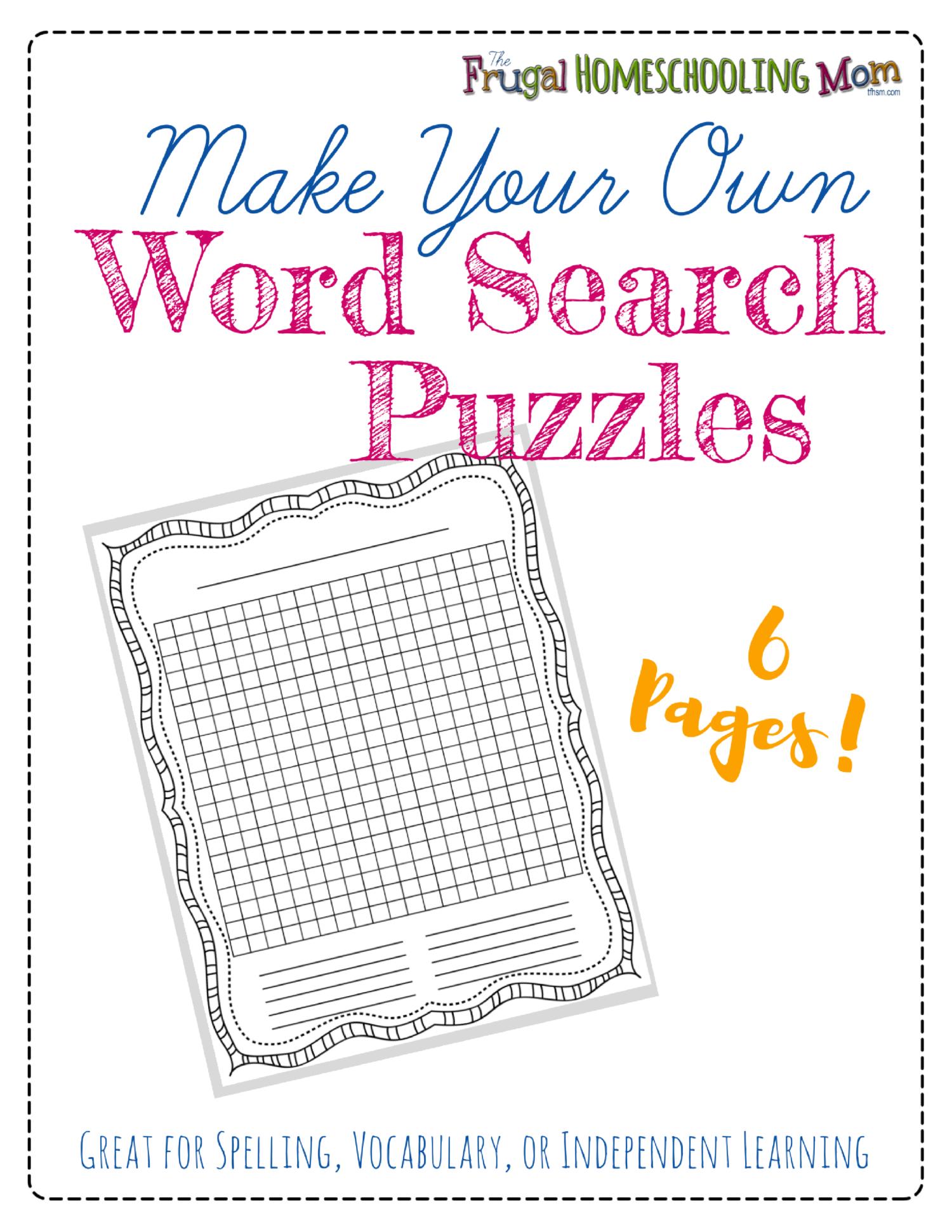 "Free ""make-Your-Own"" Printable Wordsearch Puzzles – The Frugal - Make Your Own Search Word Puzzle Free Printable"