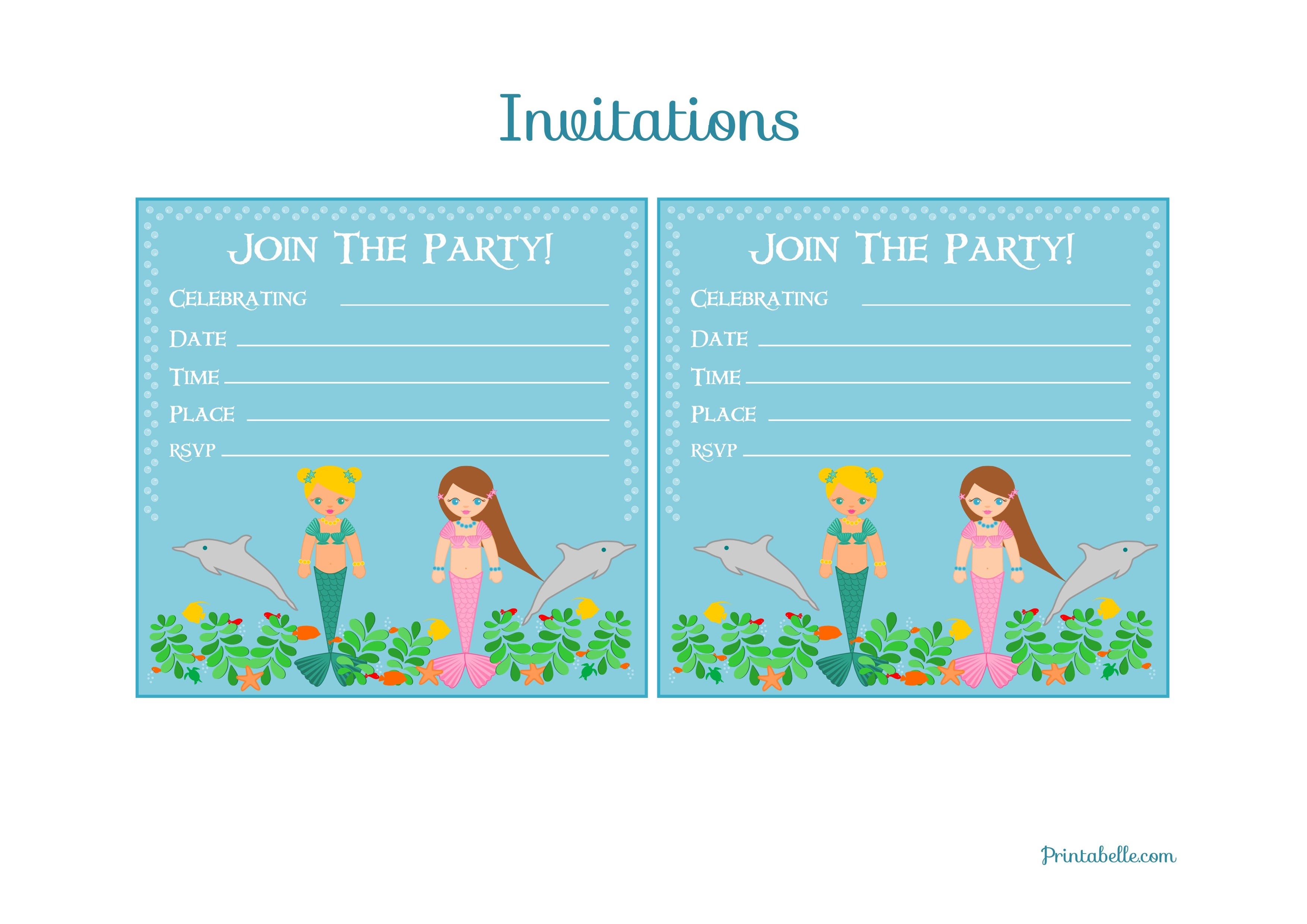 Free Mermaid Birthday Party Printables From Printabelle | Catch My Party - Mermaid Party Invitations Printable Free