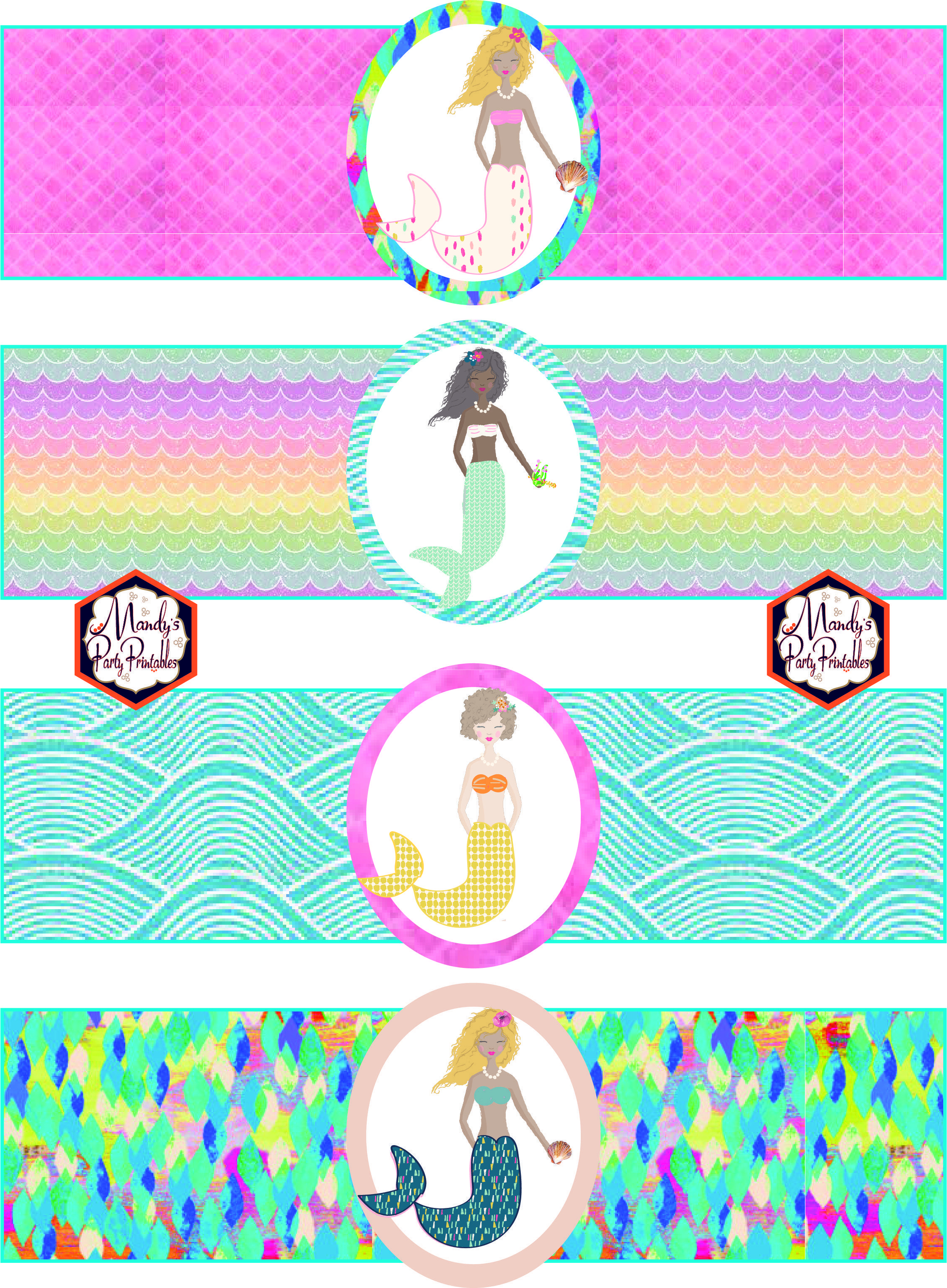 Free Mermaid Birthday Party Printables | Party Printables | Mermaid - Free Printable Little Mermaid Birthday Banner