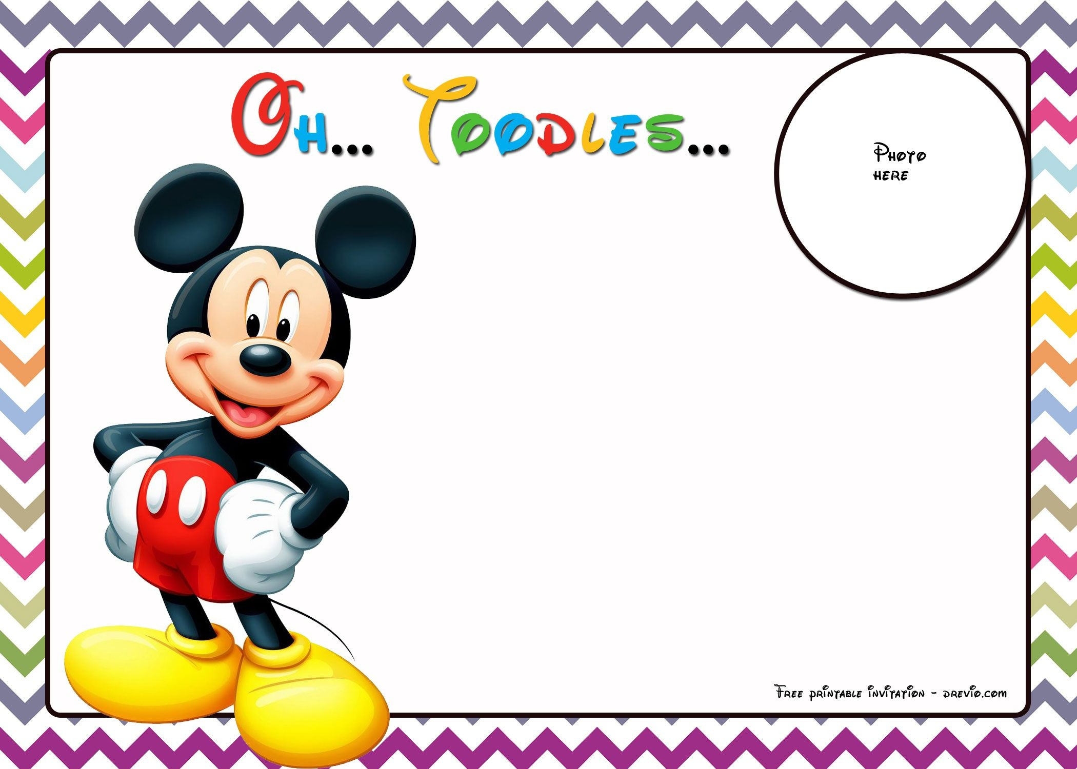 Free Mickey Mouse Birthday Invitations Template - Chevron | Free - Free Mickey Mouse Printable Templates