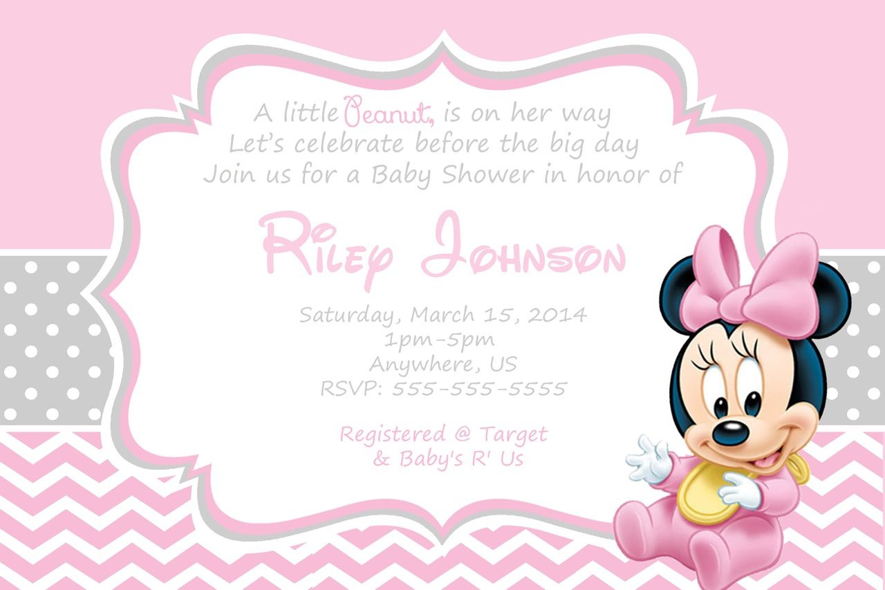 Free Minnie Mouse Baby Shower Invitation | Free Printable - Free Printable Tinkerbell Baby Shower Invitations