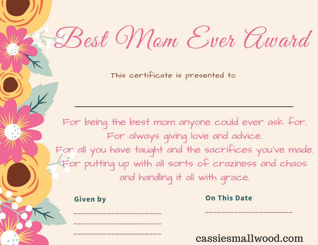 Free Mother's Day Printable Certificate Awards For Mom And Grandma - Free Printable Best Daughter Certificate