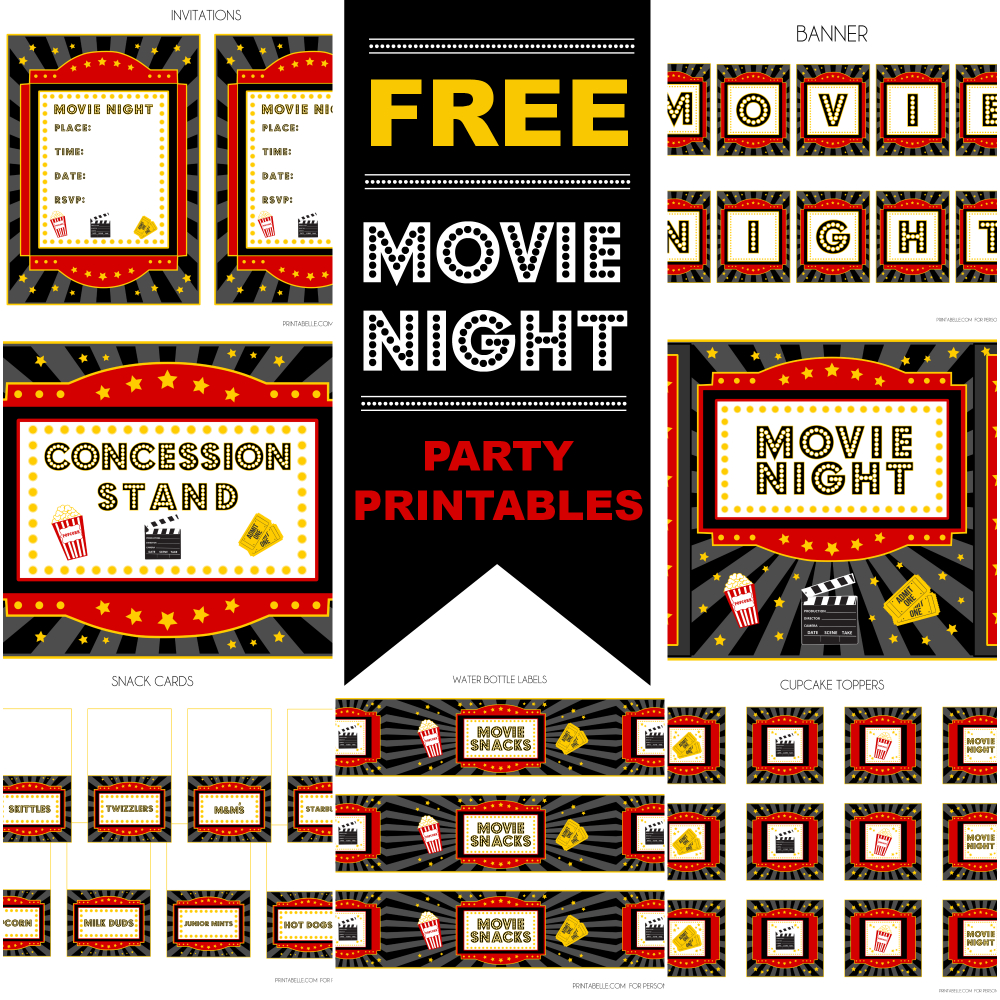 Free Movie Night Party Printablesprintabelle | Catch My Party - Movie Night Birthday Invitations Free Printable
