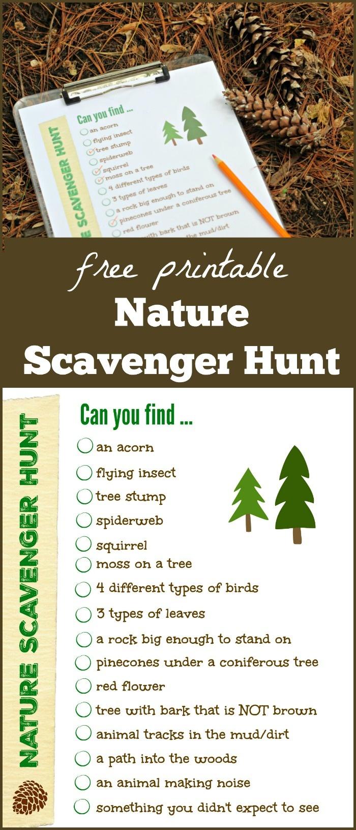 Free Nature Scavenger Hunt List {W/free Printable!} - Edventures - Free Printable Scavenger Hunt For Kids