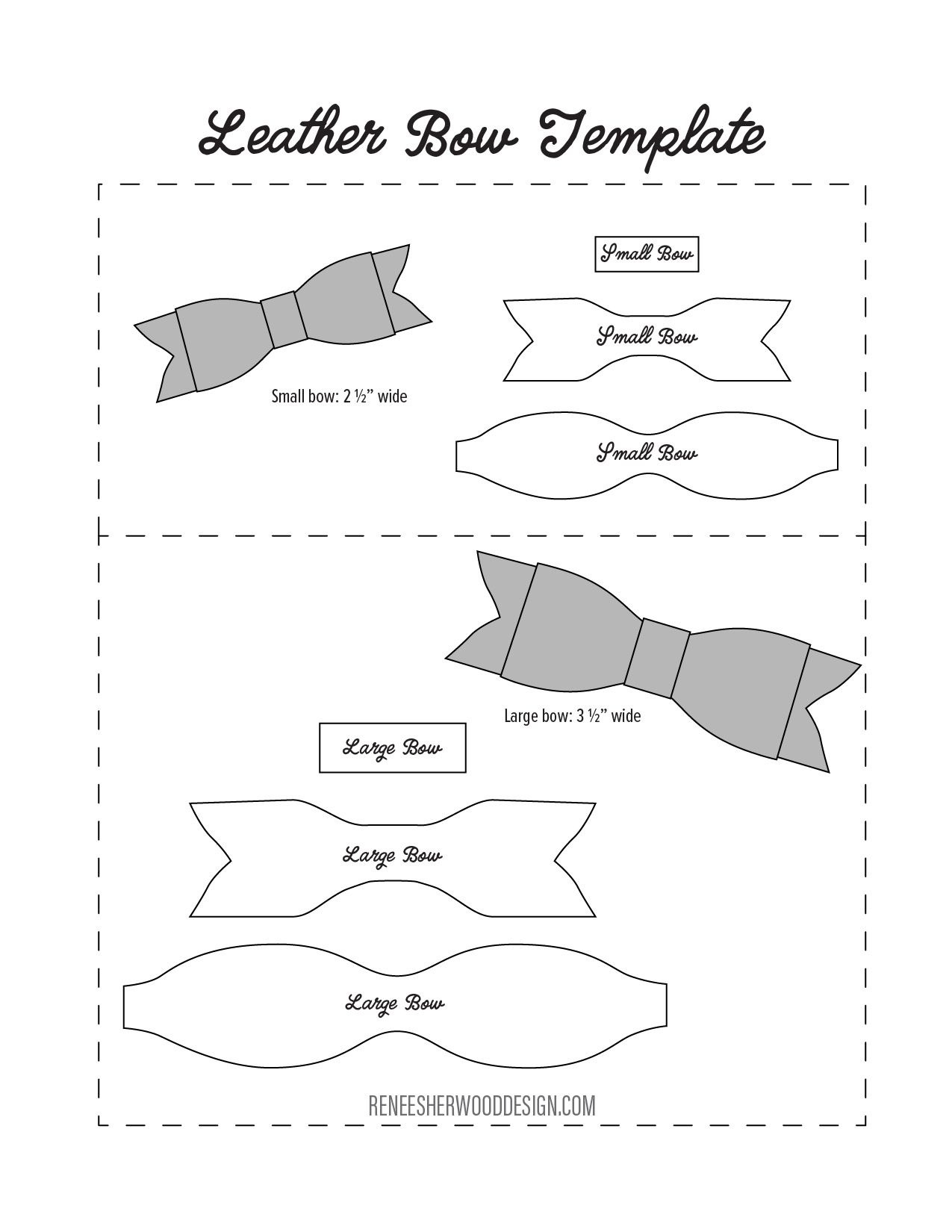 Free No Sew Leather Or Felt Bow Template Download At Www - Cheer Bow Template Printable Free