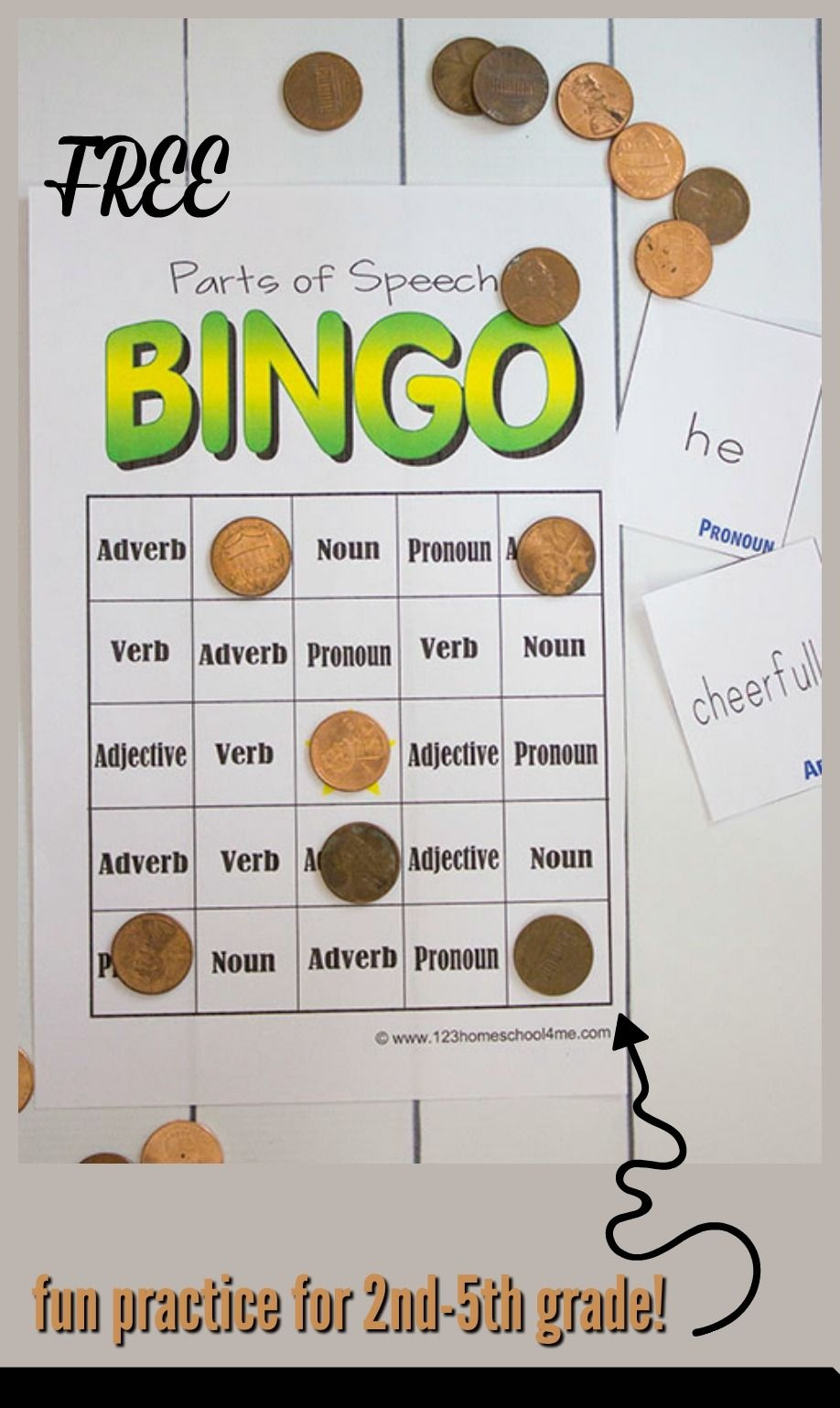 Free Parts Of Speech Game   Education   Parts Of Speech Games, Parts - Free Printable Parts Of Speech Bingo