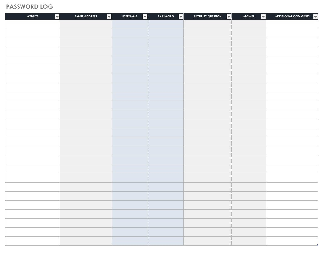 Free Password Templates And Spreadsheets | Smartsheet - Free Printable Password List