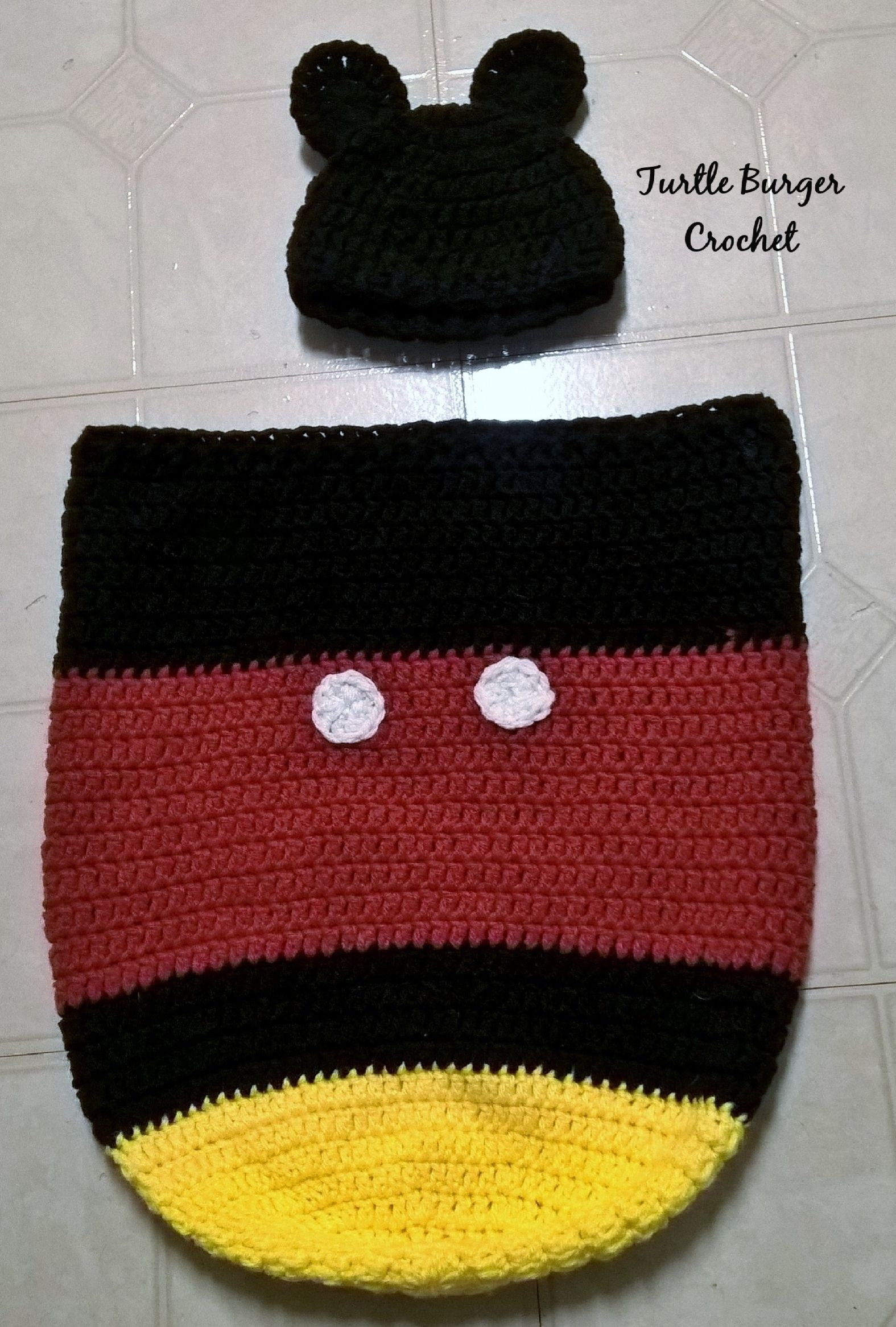 Free Pattern: Mickey Mouse Newborn Cocoon & Hat | Blog | Newborn - Free Printable Crochet Patterns For Baby Cocoons