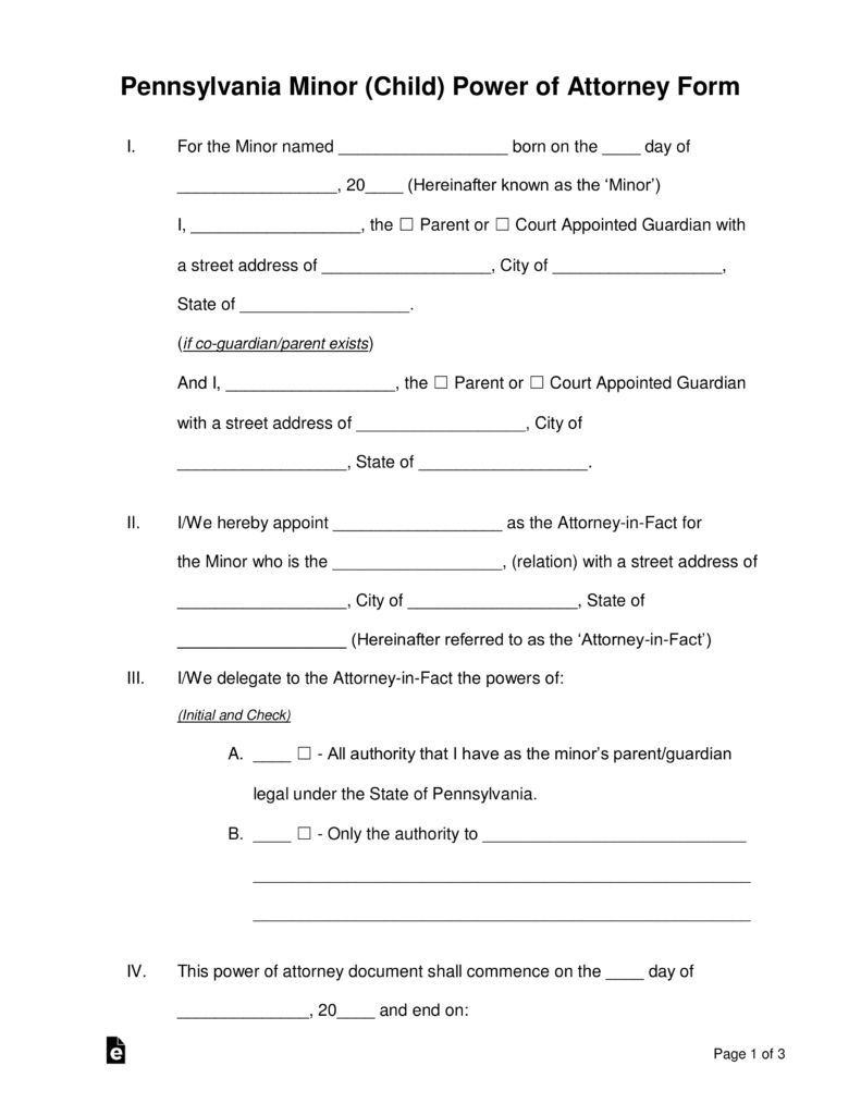 Free Pennsylvania Guardian Of Minor Power Of Attorney Form - Word - Free Printable Child Guardianship Forms