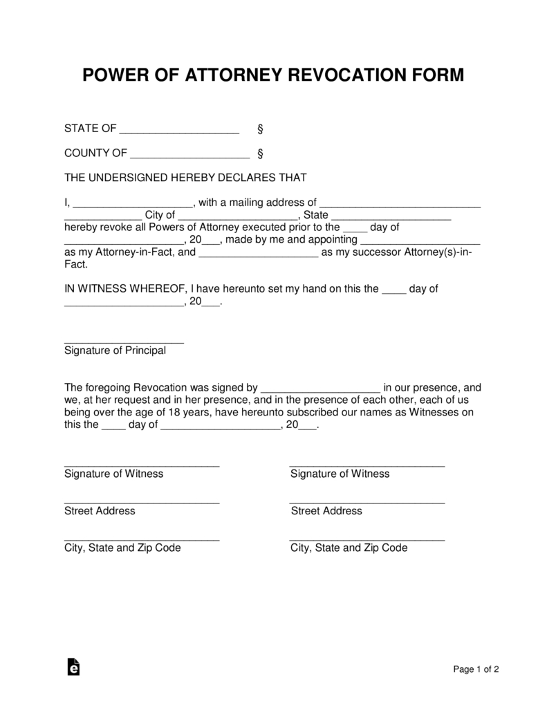 Free Power Of Attorney Revocation Form - Cancel Power Of Attorney - Free Printable Revocation Of Power Of Attorney Form