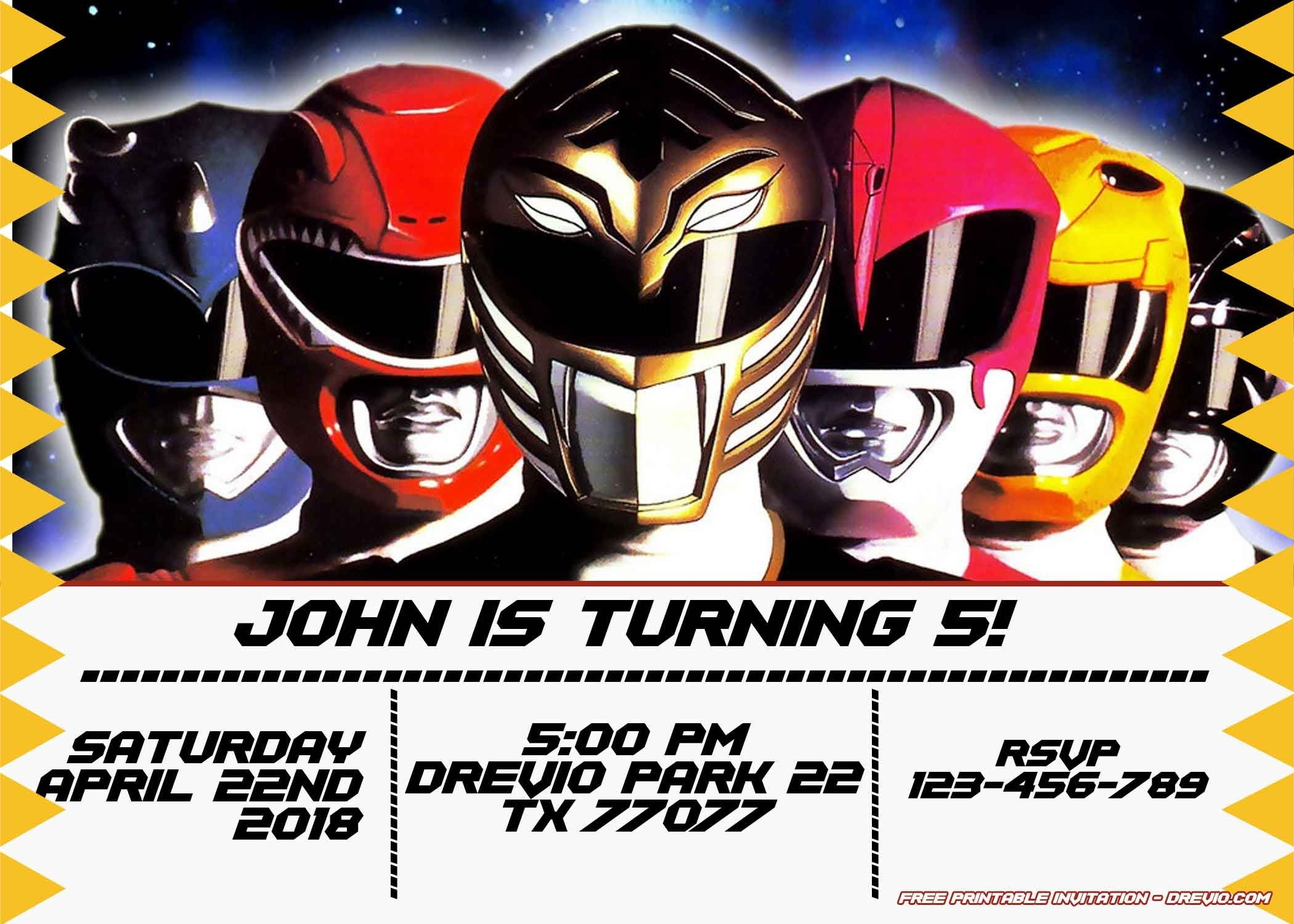 Free Power Rangers Birthday Invitation | Life's A Party | Power - Free Printable Power Ranger Birthday Invitations