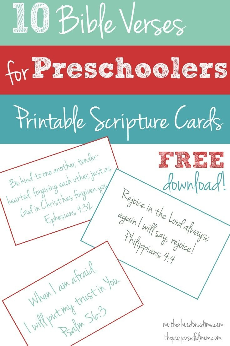 Free Printable: 10 Bible Verses To Teach Your Preschooler | Faith - Free Printable Bible Verses For Children