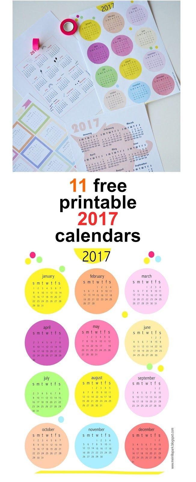 Free Printable 2017 Calendars - Round-Up | Calendars | Calendar 2017 - Free Printable Agenda 2017