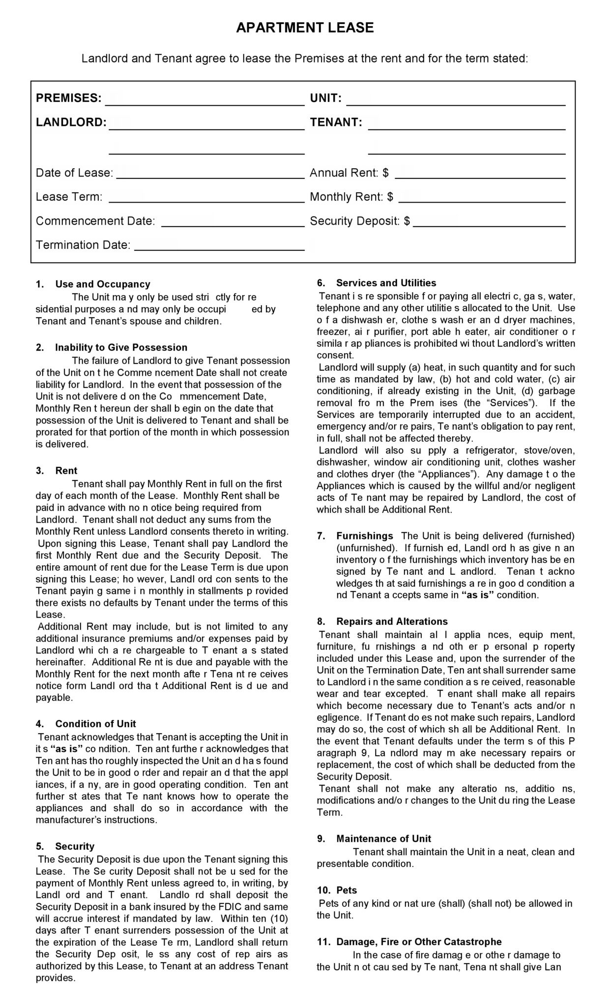 Free Printable Apartment Lease Agreement - Printable Agreements - Free Printable Lease