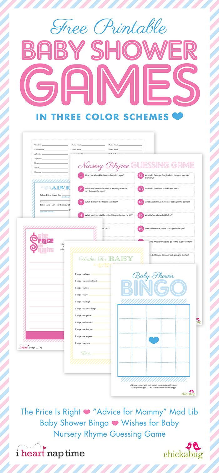 Free Printable Baby Shower Games {With I Heart Nap Time} | Chickabug - Free Printable Baby Shower Games