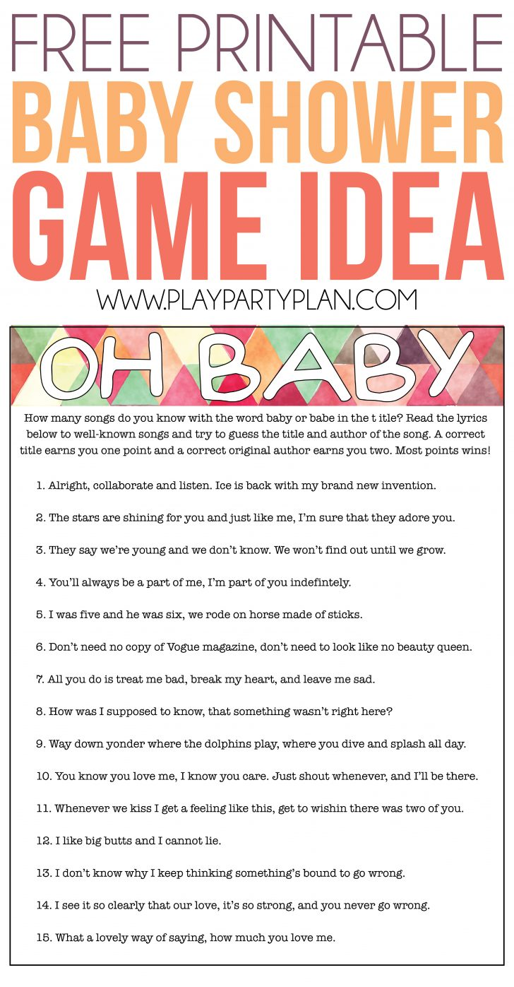 Free Printable Baby Shower Games With Answer Key