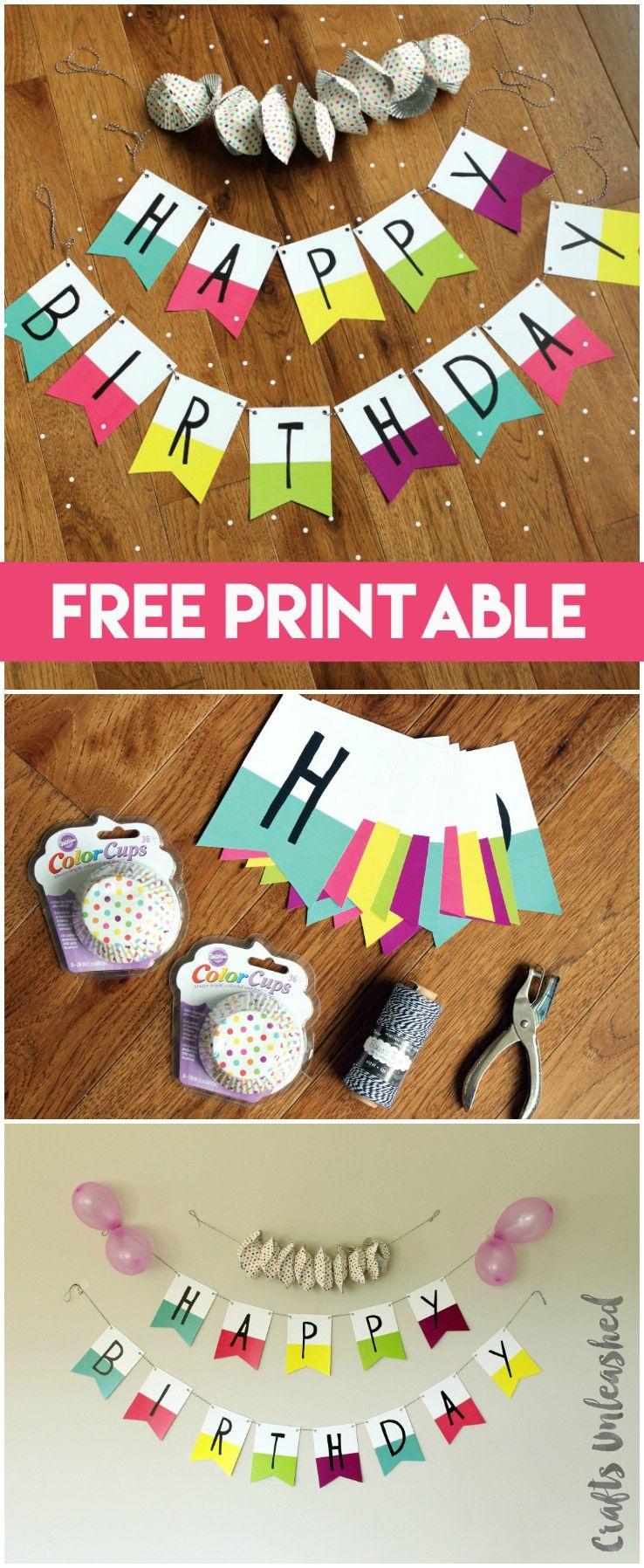 Free Printable Banner: Happy Birthday Pennants - Consumer Crafts | A - Diy Birthday Banner Free Printable