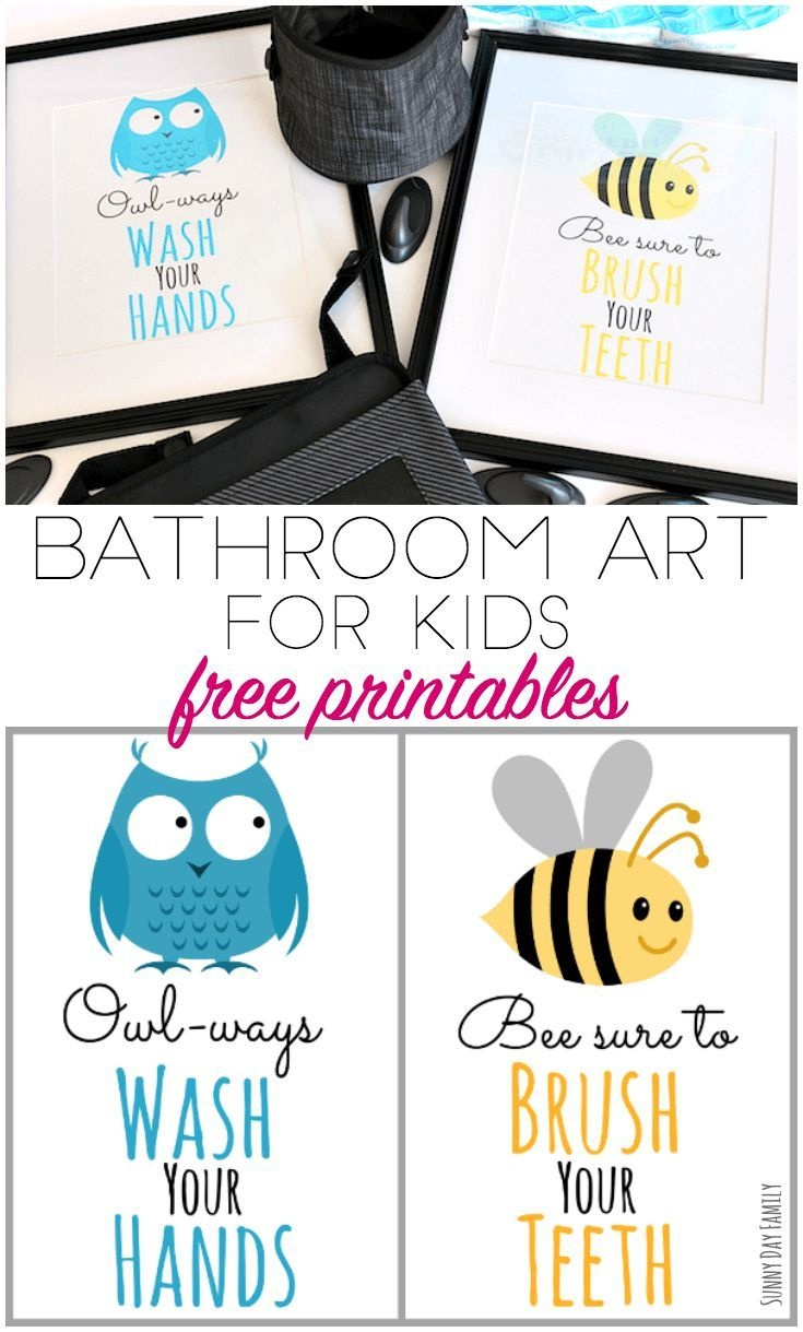 Free Printable Bathroom Art For Kids (And Organizing Tips Too - Free Printable Bathroom Signs