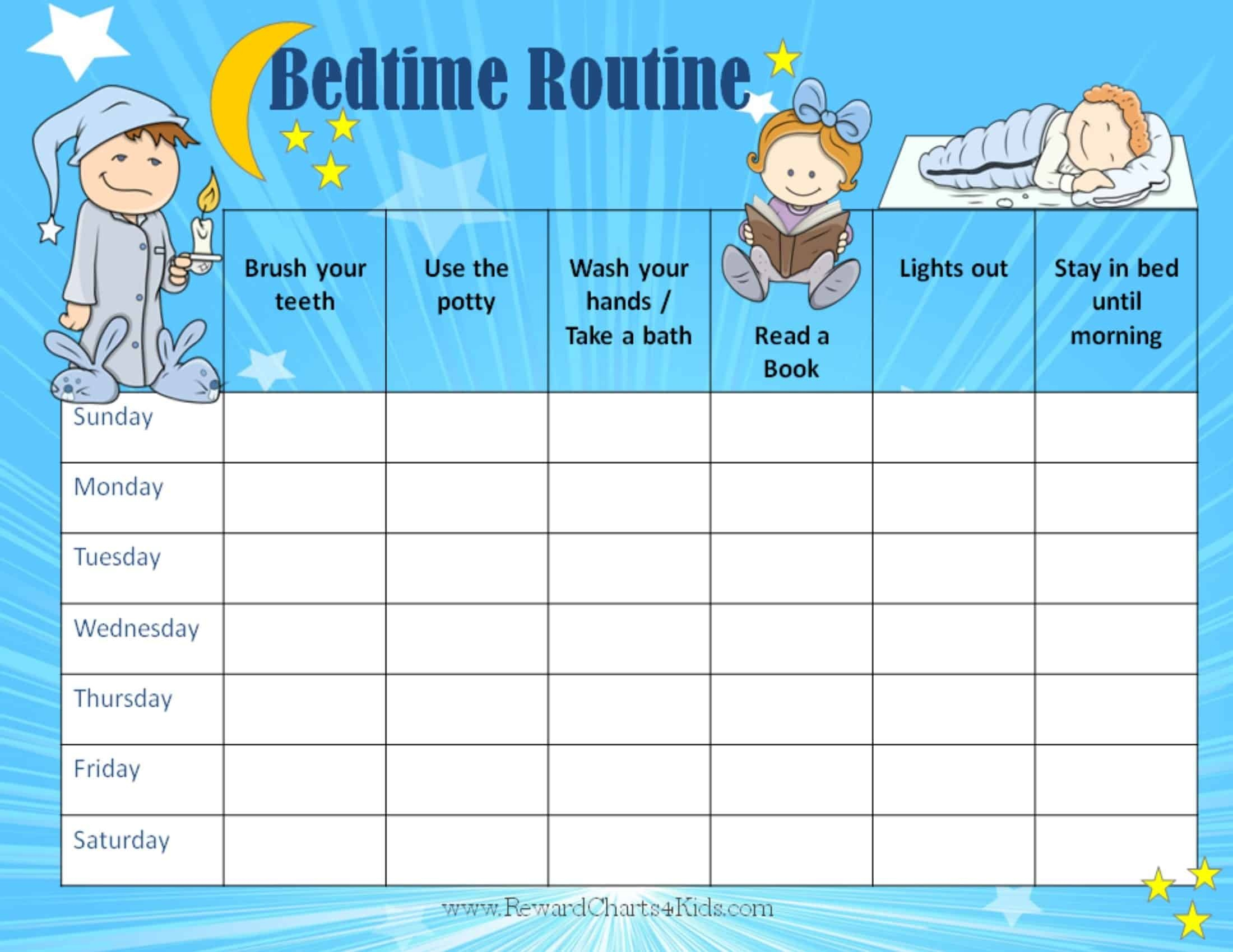 Free Printable Bedtime Routine Chart | Customize Online Then Print - Free Printable Bedtime Routine Chart