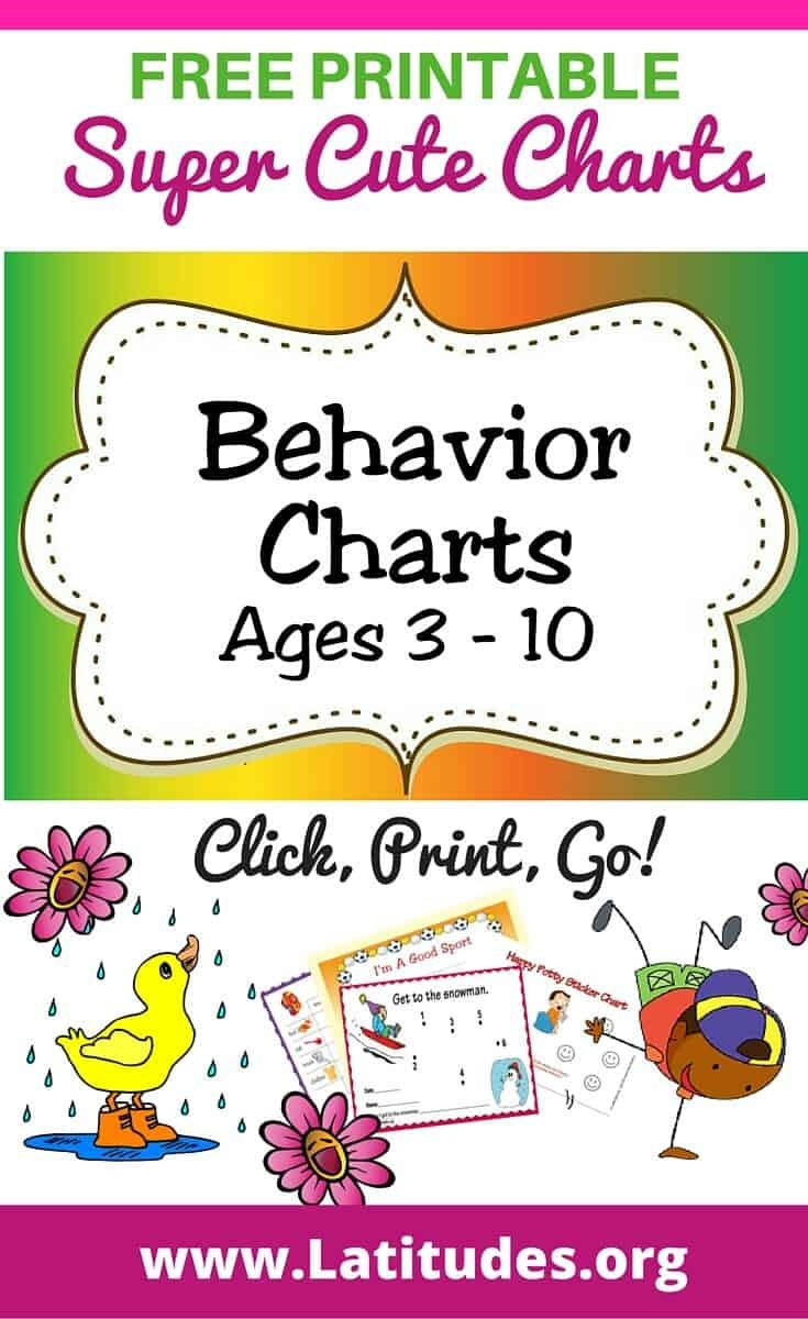 Free Printable Behavior Charts (Ages 3-10) | Acn Latitudes - Free Printable Reward Charts For 2 Year Olds